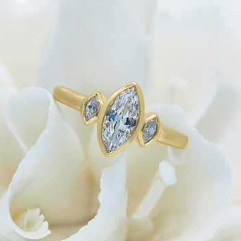 Gold Ring with Three Diamonds