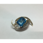 14K Yellow and White Gold Blue Topaz Diamond Pendant